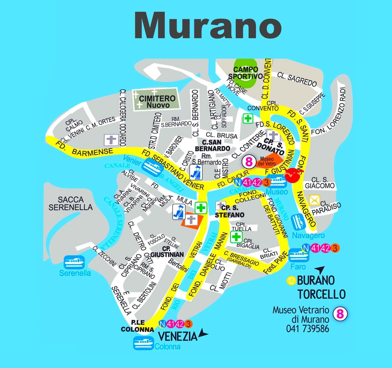Resultado de imagen de mapa de murano en venecia
